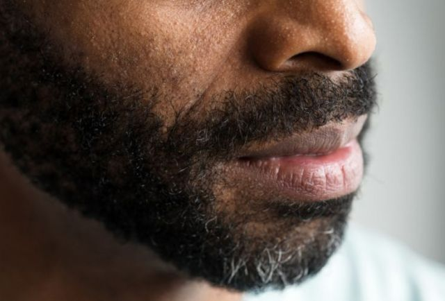 closeup of African american man's mouth